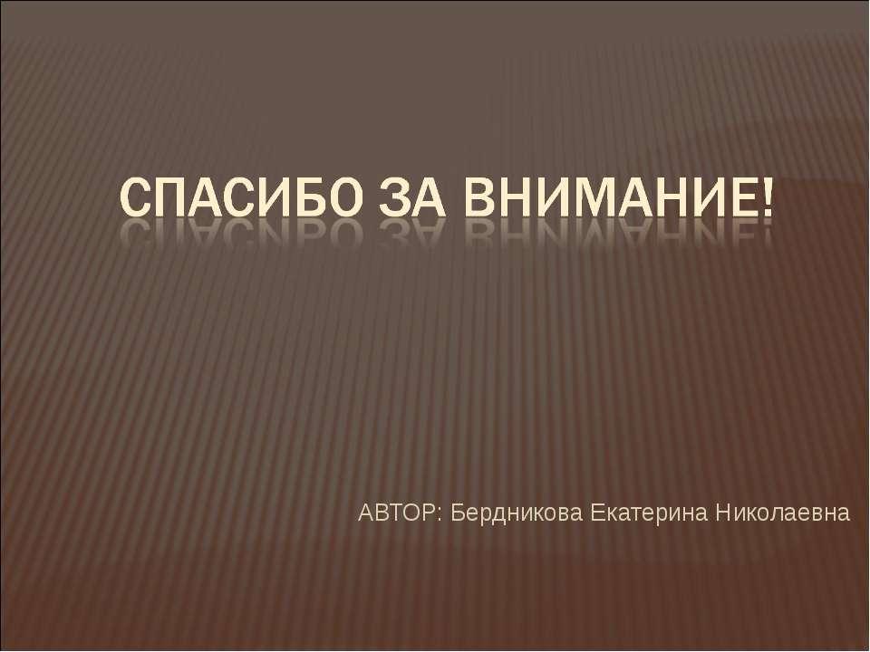 АВТОР: Бердникова Екатерина Николаевна
