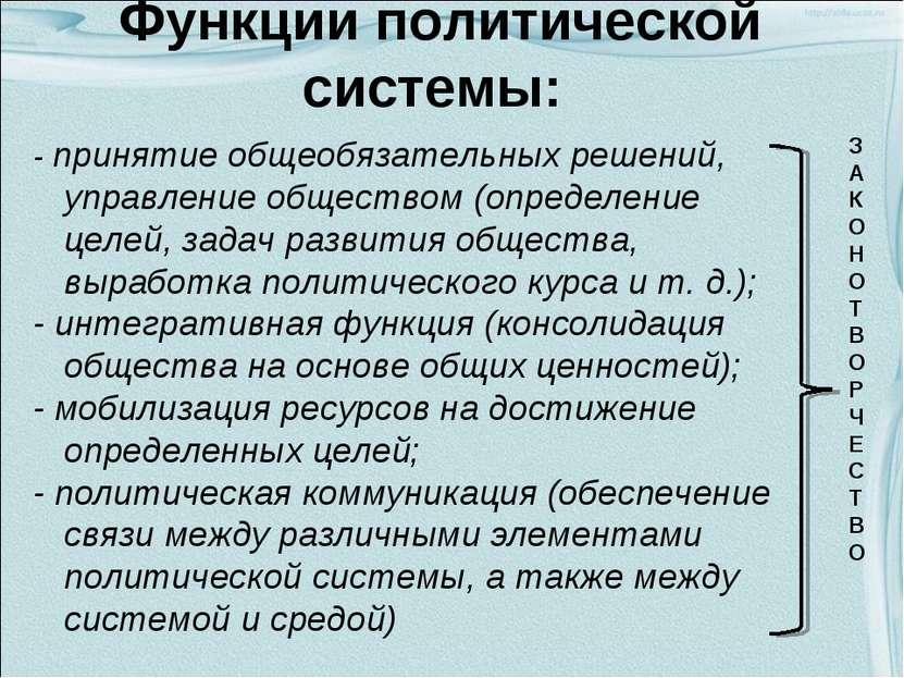 Функции политической системы: - принятие общеобязательных решений, управление...