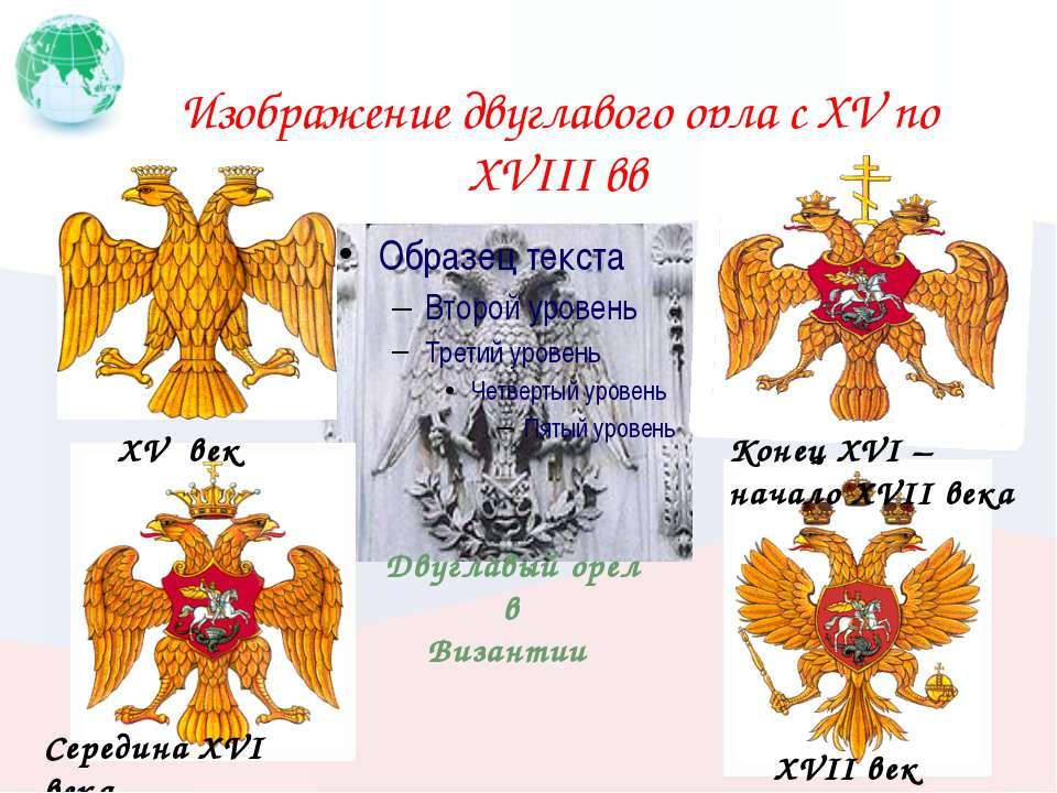Изображение двуглавого орла с XV по XVIII вв XV век Середина XVI века Конец X...