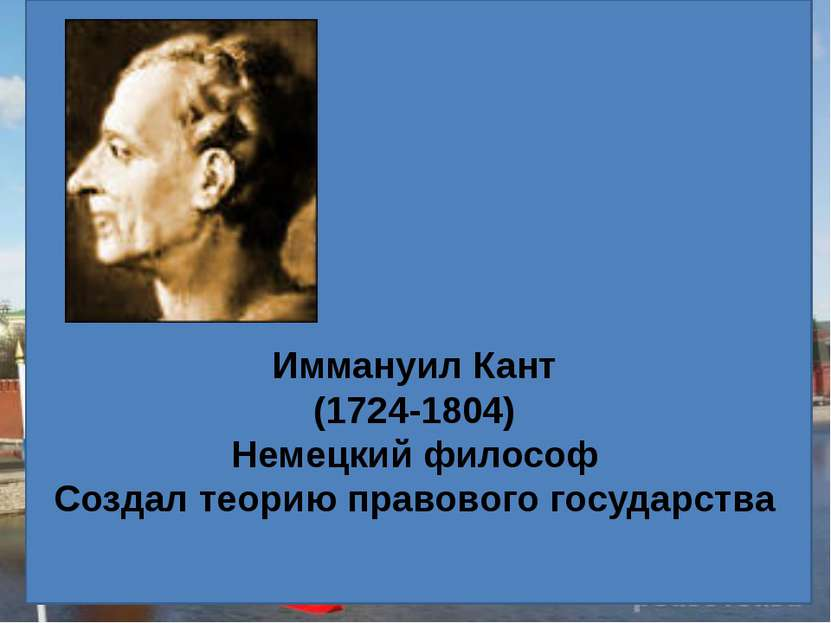 Иммануил Кант (1724-1804) Немецкий философ Создал теорию правового государства