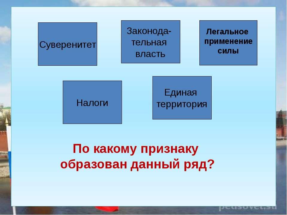 Суверенитет Единая территория Налоги Законода- тельная власть Легальное приме...