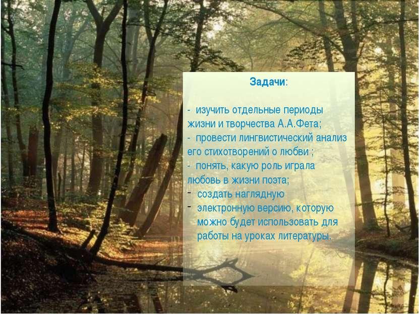 Задачи: - изучить отдельные периоды жизни и творчества А.А.Фета; - провести л...
