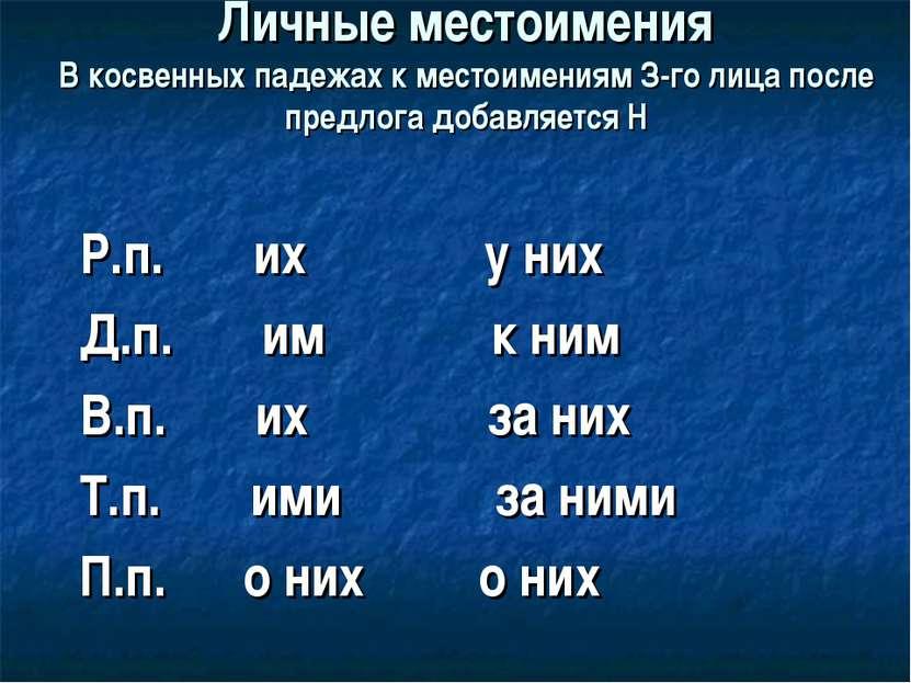 Личные местоимения В косвенных падежах к местоимениям З-го лица после предлог...