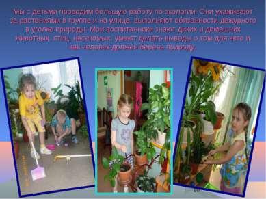 Мы с детьми проводим большую работу по экологии. Они ухаживают за растениями ...