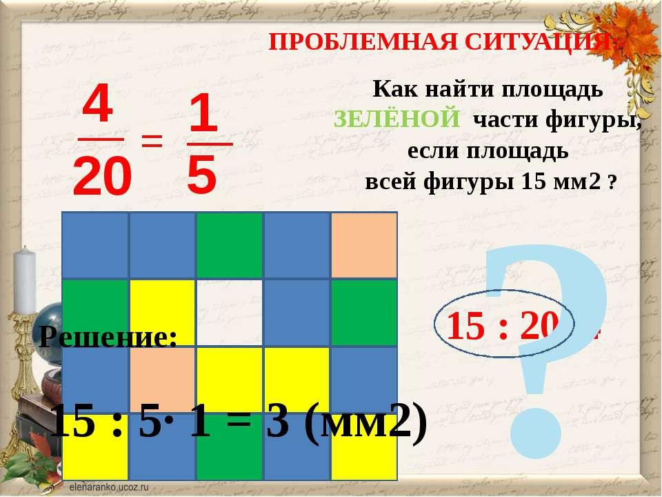 ПРОБЛЕМНАЯ СИТУАЦИЯ: = Как найти площадь ЗЕЛЁНОЙ части фигуры, если площадь в...