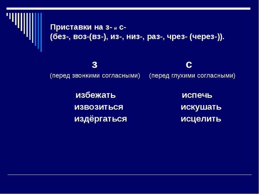 Приставки на з- и с- (без-, воз-(вз-), из-, низ-, раз-, чрез- (через-)). з (п...