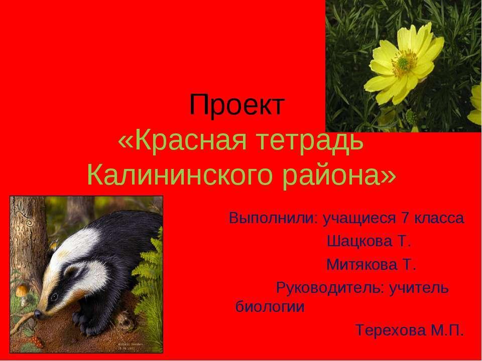 Проект «Красная тетрадь Калининского района» Выполнили: учащиеся 7 класса Шац...