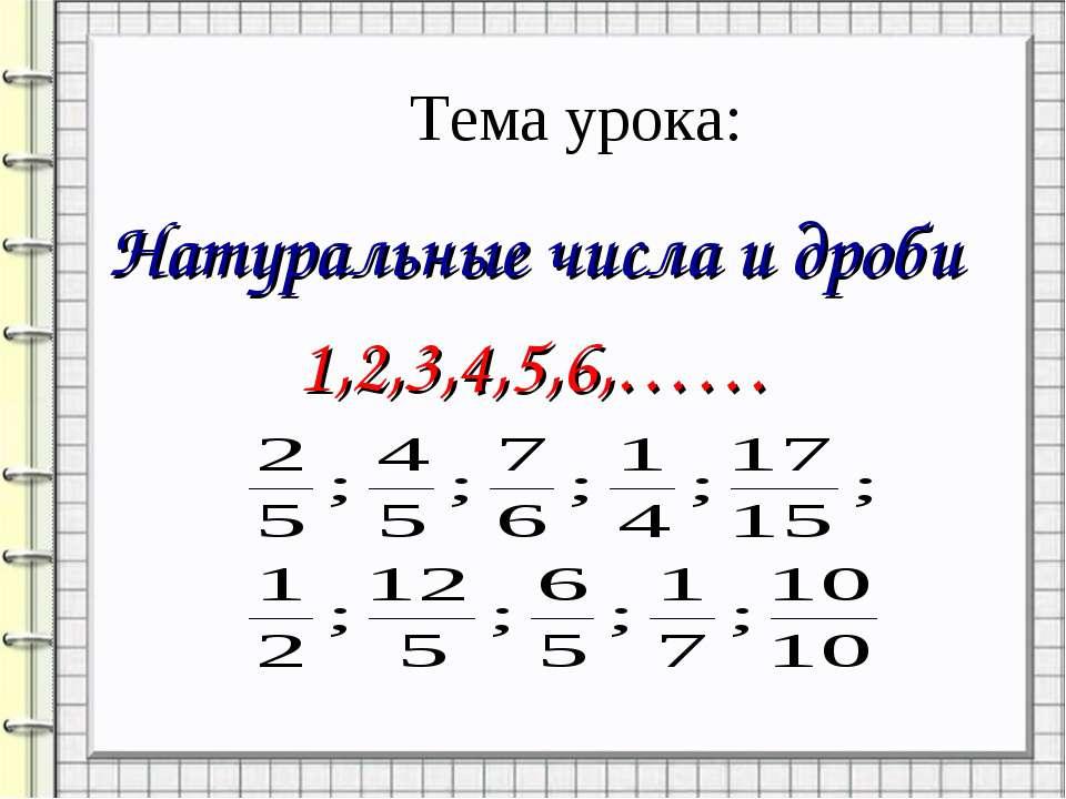 Тема урока: Натуральные числа и дроби 1,2,3,4,5,6,……
