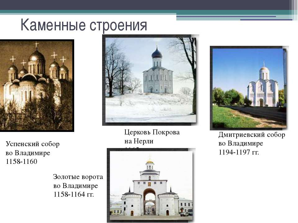 Успенский собор во Владимире 1158-1160 Церковь Покрова на Нерли 1165 г. Дмитр...