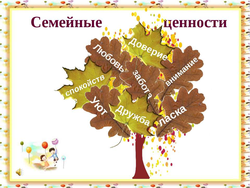 Семейные ценности Любовь спокойствие внимание забота Доверие ласка Уют Дружба