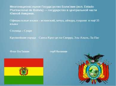 Многонациона льное Госуда рство Боли вия (исп. Estado Plurinacional de Bolivi...