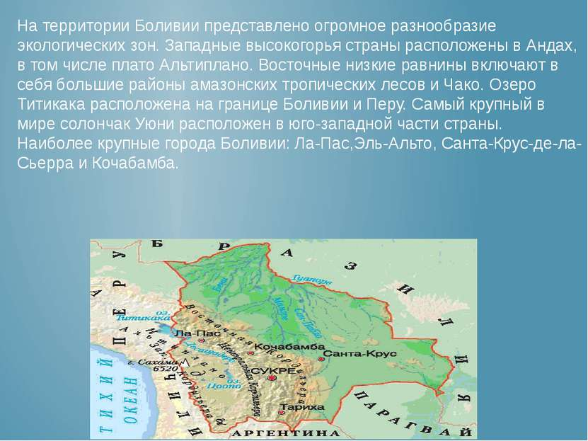 На территории Боливии представлено огромное разнообразие экологических зон. З...