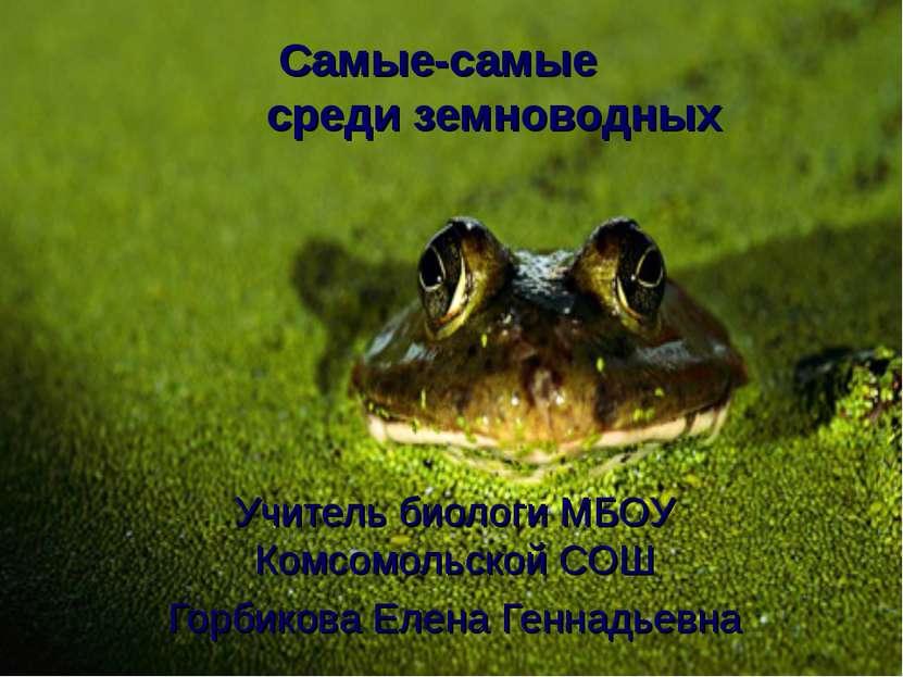 Самые-самые среди земноводных Учитель биологи МБОУ Комсомольской СОШ Горбиков...
