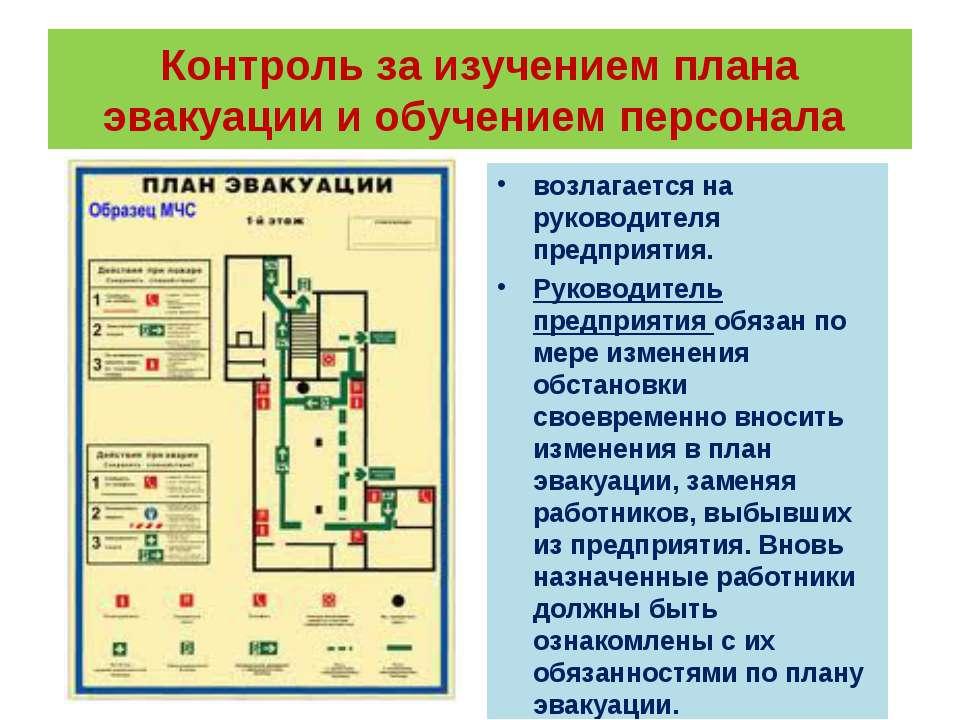 Контроль за изучением плана эвакуации и обучением персонала возлагается на ру...