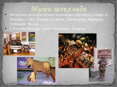 Несколько десятков музеев шоколада существует в мире: в Мексике, США, Канаде,...