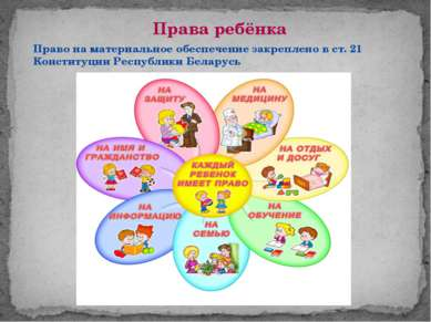 Права ребёнка Право на материальное обеспечение закреплено в ст. 21 Конституц...