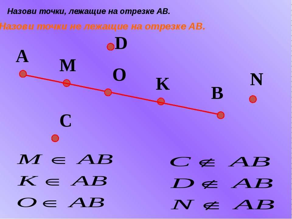 A B K M Назови точки, лежащие на отрезке АВ. Назови точки не лежащие на отрез...