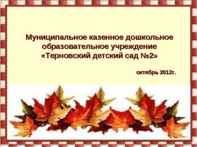 Муниципальное казенное дошкольное образовательное учреждение «Терновский детс...