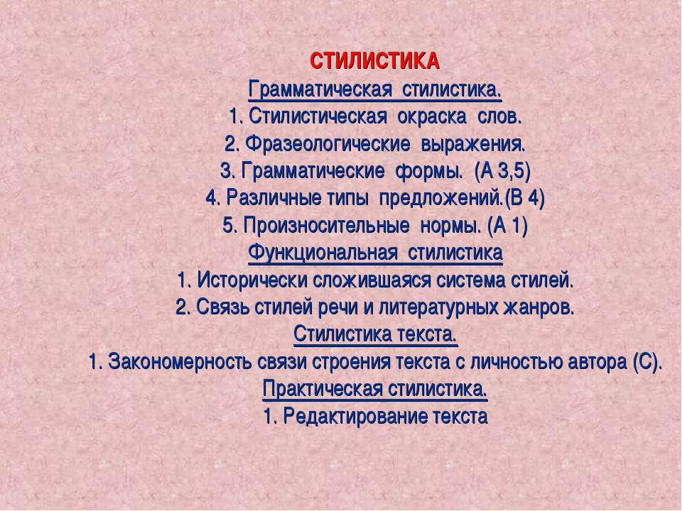 СТИЛИСТИКА Грамматическая стилистика. 1. Стилистическая окраска слов. 2. Фраз...
