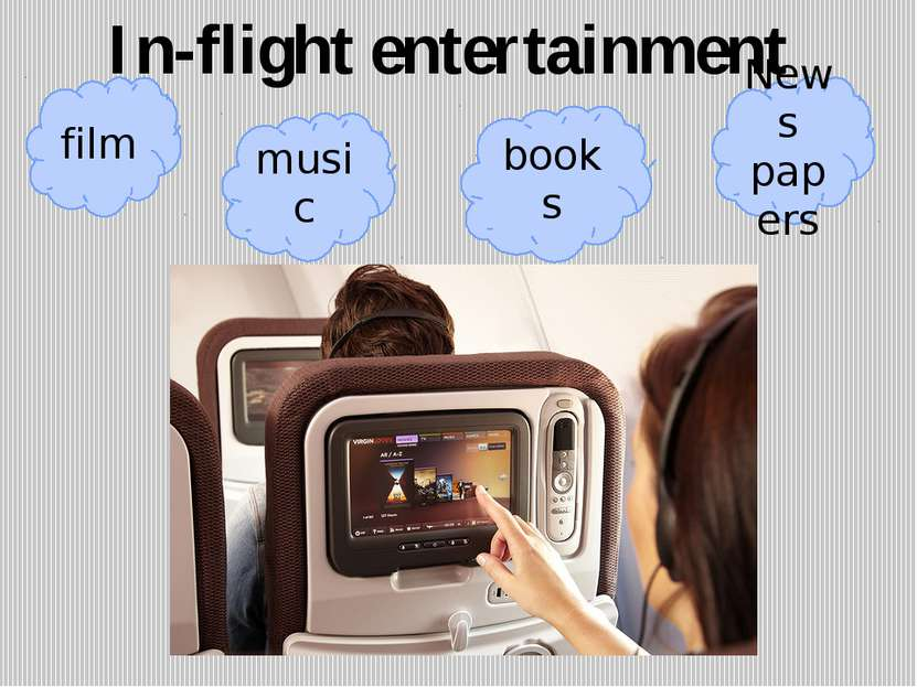 In-flight entertainment film music books News papers
