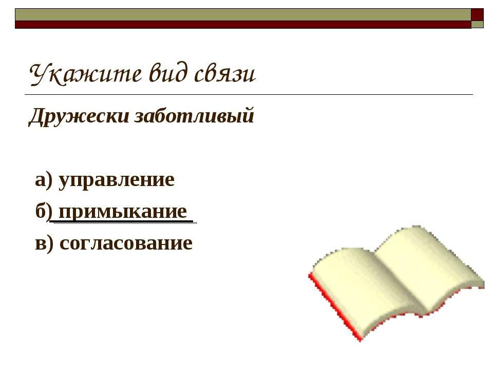 Укажите вид связи Дружески заботливый а) управление б) примыкание в) согласов...