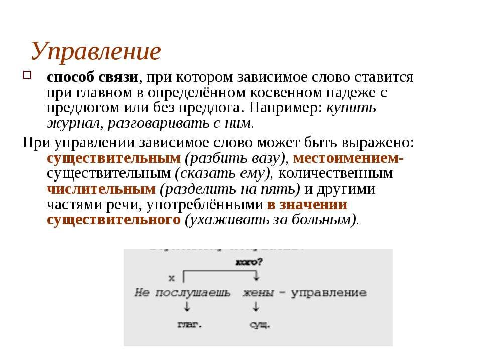 Управление способ связи, при котором зависимое слово ставится при главном в о...