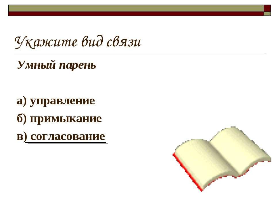 Укажите вид связи Умный парень а) управление б) примыкание в) согласование