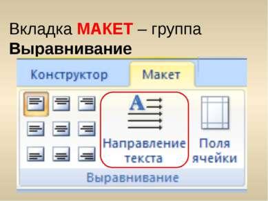 Вкладка МАКЕТ – группа Выравнивание