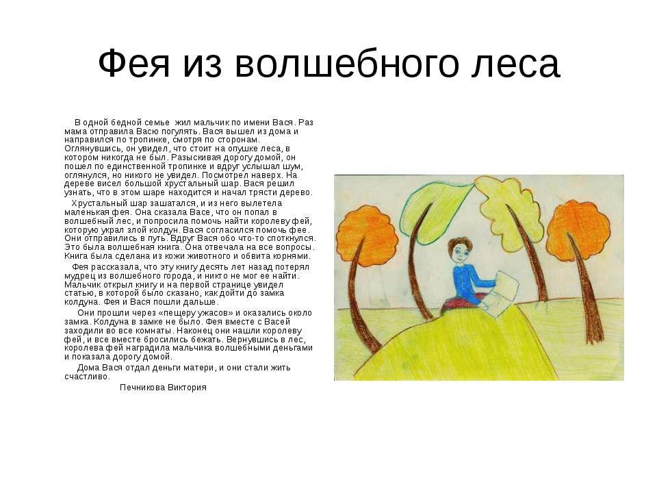Фея из волшебного леса В одной бедной семье жил мальчик по имени Вася. Раз ма...
