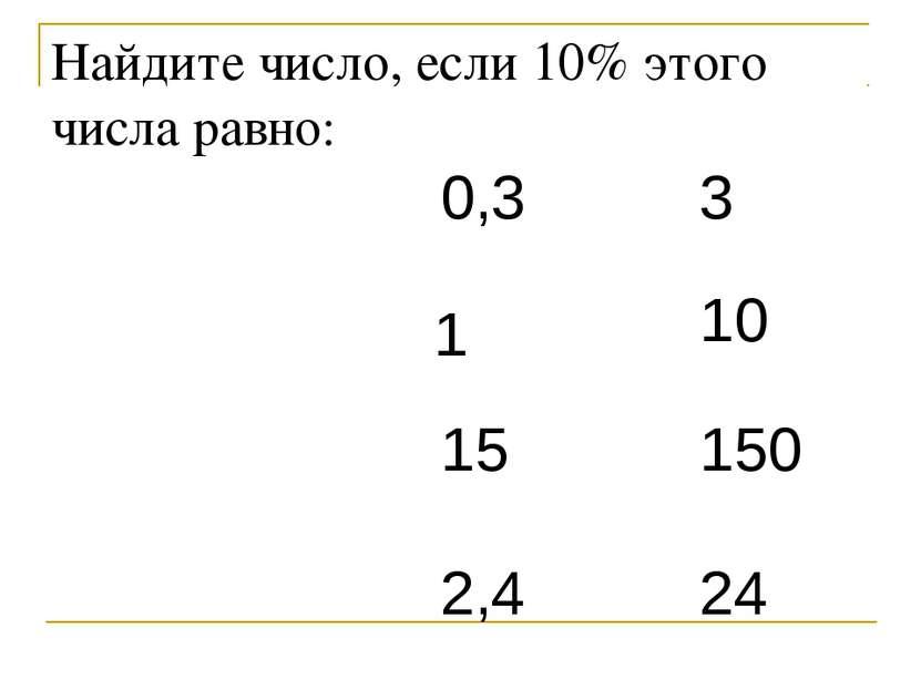 Найдите число, если 10% этого числа равно: 0,3 1 15 2,4 3 10 150 24