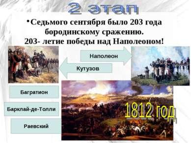 Седьмого сентября было 203 года бородинскому сражению. 203- летие победы над ...