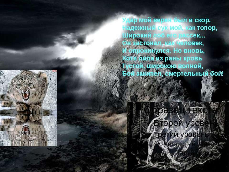 Удар мой верен был и скор. Надежный сук мой, как топор, Широкий лоб его рассе...