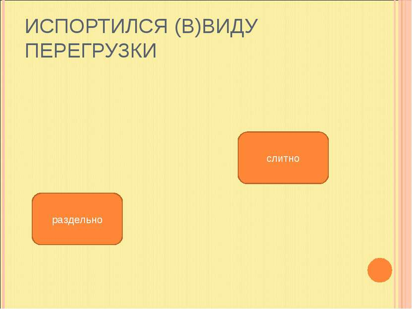 ИСПОРТИЛСЯ (В)ВИДУ ПЕРЕГРУЗКИ слитно раздельно