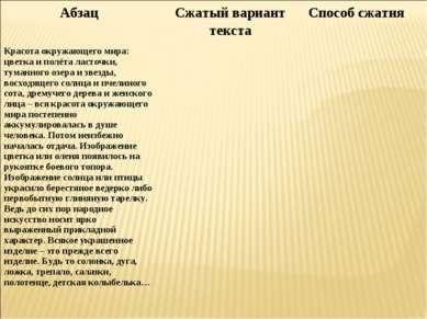 Абзац Сжатый вариант текста Способ сжатия Красота окружающего мира: цветка и ...