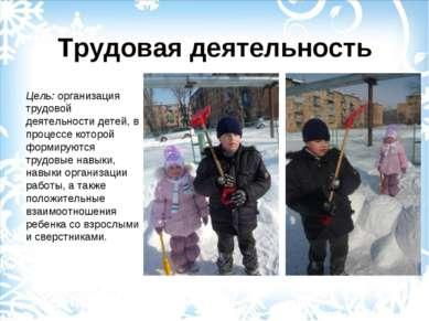 Трудовая деятельность Цель: организация трудовой деятельности детей, в процес...