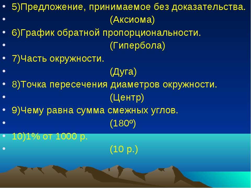 5)Предложение, принимаемое без доказательства. (Аксиома) 6)График обратной пр...
