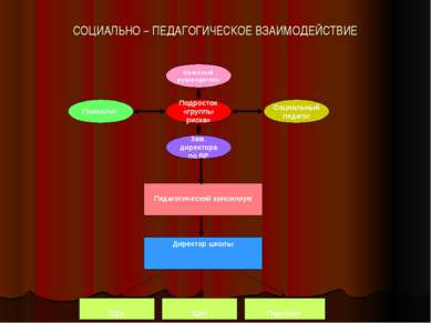 СОЦИАЛЬНО – ПЕДАГОГИЧЕСКОЕ ВЗАИМОДЕЙСТВИЕ Педагогический консилиум Директор ш...