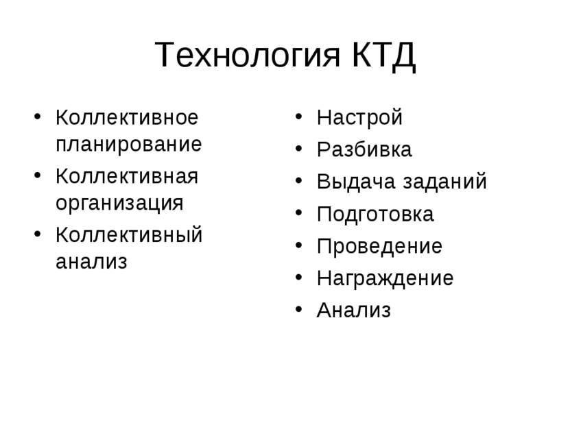 Технология КТД Коллективное планирование Коллективная организация Коллективны...
