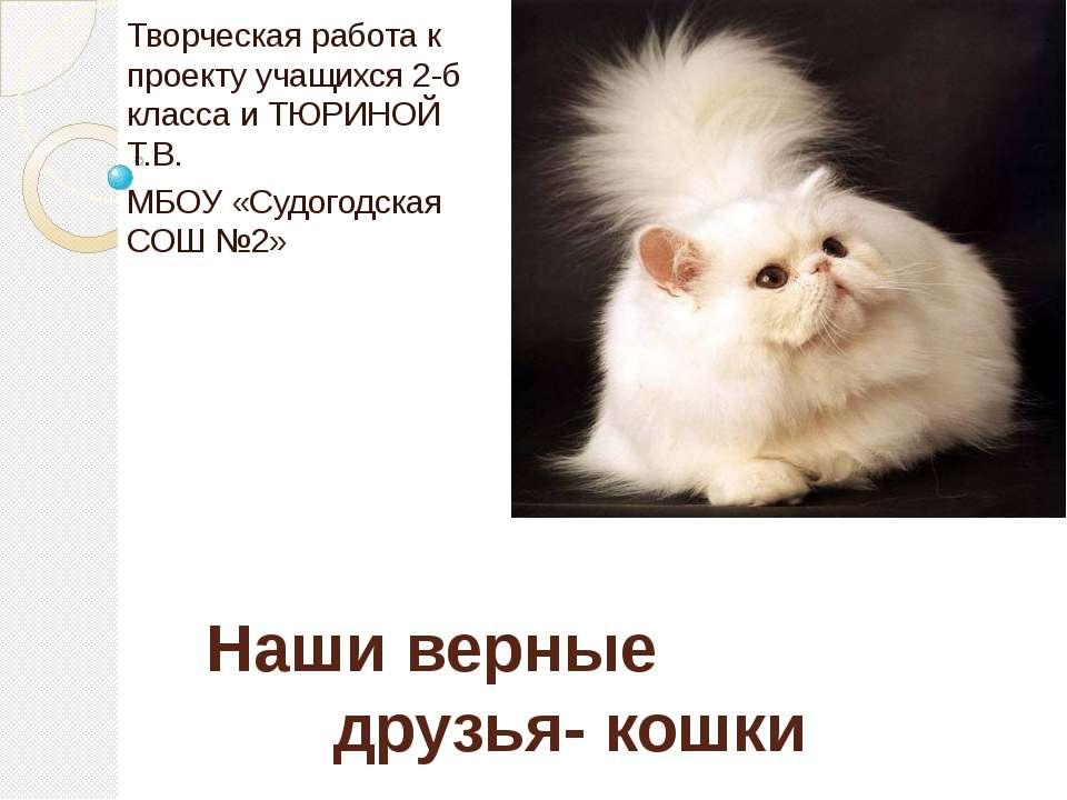 Наши верные друзья- кошки Творческая работа к проекту учащихся 2-б класса и Т...