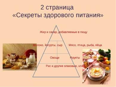 2 страница «Секреты здорового питания» Жир и сахар, добавляемые в пищу Молоко...