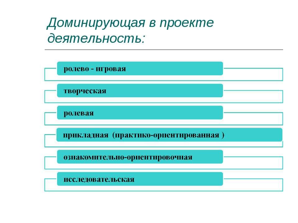 Доминирующая в проекте деятельность: