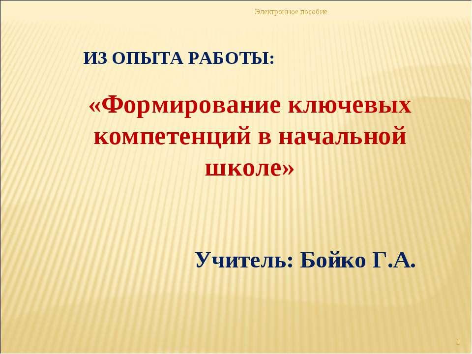 Электронное пособие * ИЗ ОПЫТА РАБОТЫ: «Формирование ключевых компетенций в н...