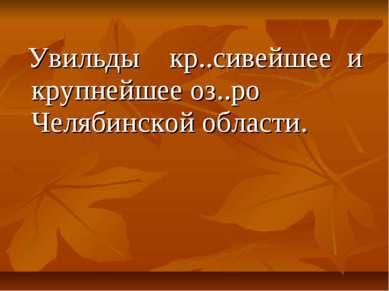Увильды кр..сивейшее и крупнейшее оз..ро Челябинской области.