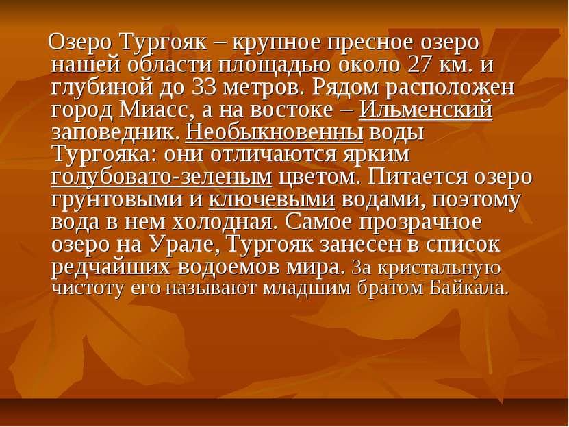Озеро Тургояк – крупное пресное озеро нашей области площадью около 27 км. и г...