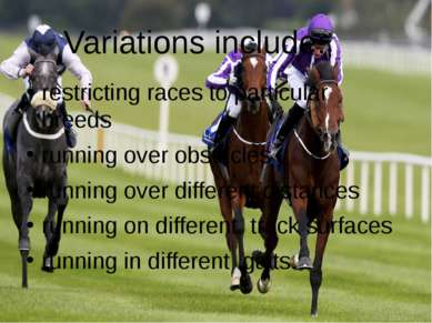 Variations include: restricting races to particular  breeds running over obst...