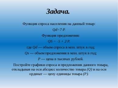 Задача. Функция спроса населения на данный товар: Qd=7-P. Функция предложения...