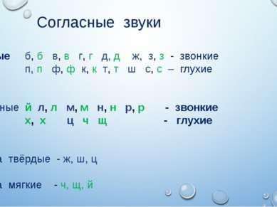 Согласные звуки Парные б, б в, в г, г д, д ж, з, з - звонкие п, п ф, ф к, к т...