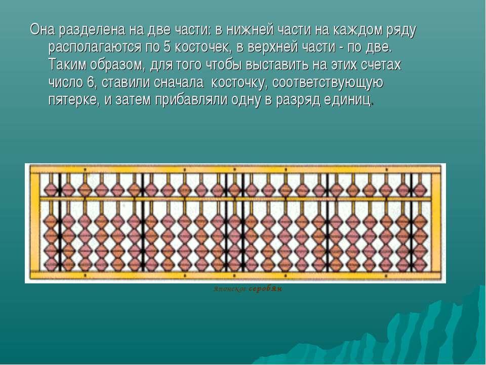 Она разделена на две части: в нижней части на каждом ряду располагаются по 5 ...