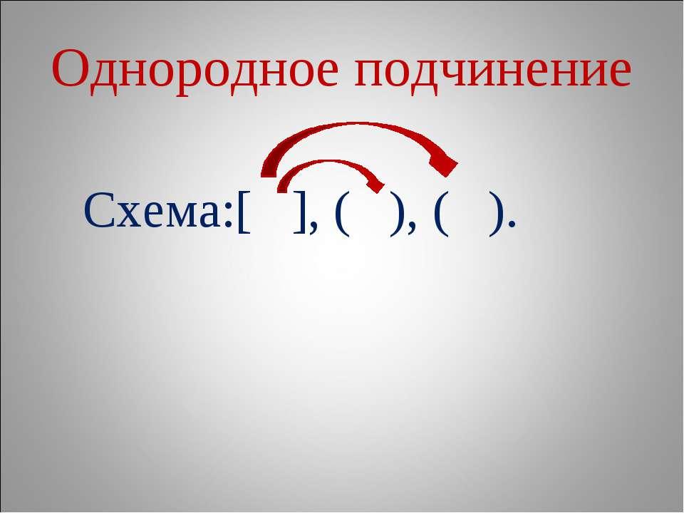 Однородное подчинение Схема:[ ], ( ), ( ).