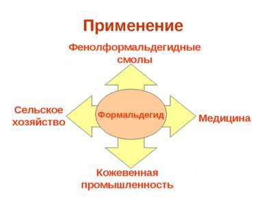 Применение Формальдегид Кожевенная промышленность Медицина Фенолформальдегидн...